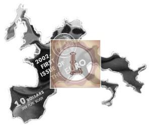 очертания этой монеты повторяют контуры стран Евросоюза