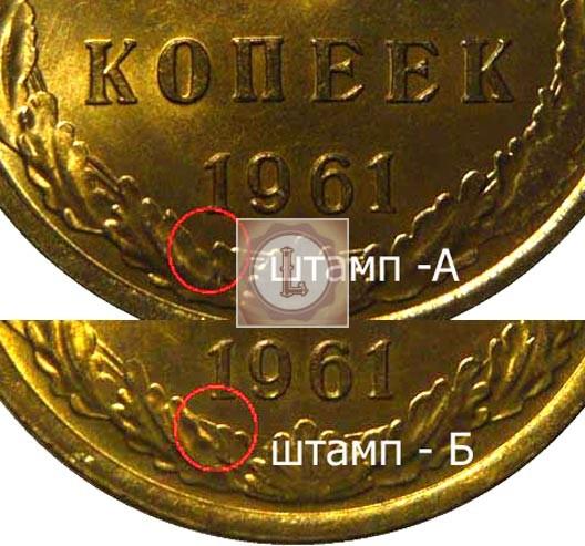 Отличия монеты на рискунке Штамп А и Б