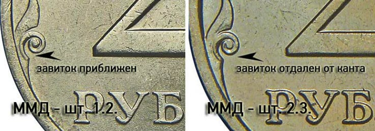 Разновидности ММД монеты 2 руля 2007 года