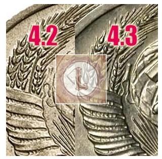 20 копеек 1953 года различие 4.2 и 4.3 шт
