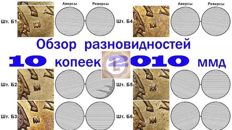10 копеек 2010, разновидности штемпелей
