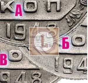 15 копеек 1948 года. Разновидности