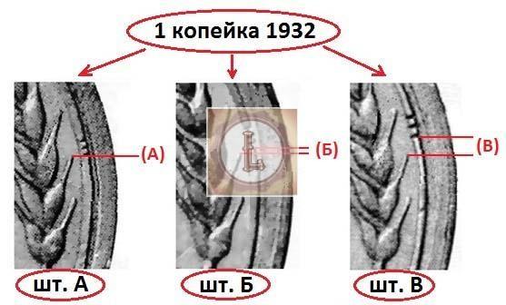 1 копейка 1932 года по Широкову